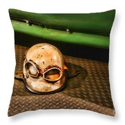 Old Racing Helmet Throw Pillow