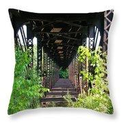 Old Railroad Car Bridge Throw Pillow