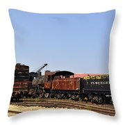 Old Railroad Cars From The Series View Of An Old Railroad Throw Pillow