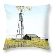 Old Ranch Windmill Throw Pillow