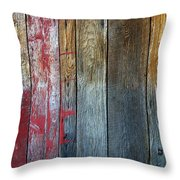 Old Reclaimed Wood - Rustic Red Painted Wall  Throw Pillow