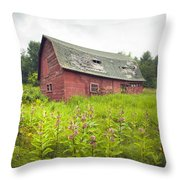 Old Red Barn In A Field - Rustic Landscapes Throw Pillow