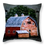 Old Red Barn On Slate Throw Pillow