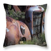 Old Red Car Throw Pillow