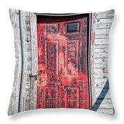 Old Red Door Throw Pillow