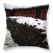 Old Red Farm Throw Pillow