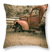 Old Red Farm Truck Throw Pillow
