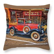 Old Red Pickup Truck Throw Pillow