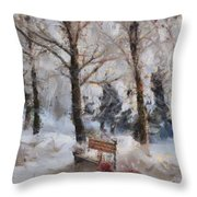 Old Red Playing In The Snow  Throw Pillow
