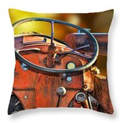 Old Red Tractor Ford 9 N Throw Pillow