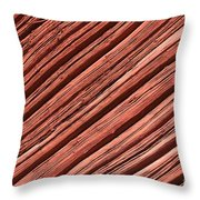 Old Red Wooden Wall In Sunlight Throw Pillow