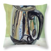 Old Reliable Stainless Steel Coffee Perker Throw Pillow by Jennie Traill Schaeffer