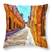The Old Rhodes Town Throw Pillow