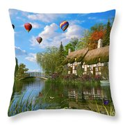 Old River Cottage Throw Pillow by Dominic Davison