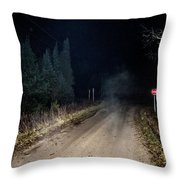 Old Road Night Fog Throw Pillow