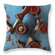 Old Roller Skates Throw Pillow