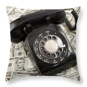 Old Rotary Phone On Money Background Throw Pillow