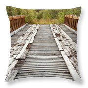 Old Rotten Abandoned Bridge Leading To Nowhere Throw Pillow
