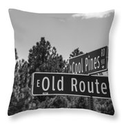 Old Route 66 And Cool Pines Throw Pillow