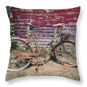 Old Rusty Bicycle With Basket Of Lavender Flowers Throw Pillow