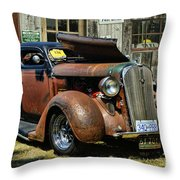 Old Rusty Car At The Old Shop  Ca5083a-14 Throw Pillow