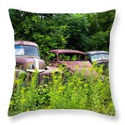 Old Rusty Cars Throw Pillow