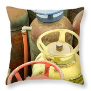 Colorful Fire Extinguishers Throw Pillow