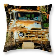 Old Rusty International Flatbed Truck Throw Pillow