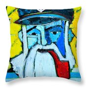Old Sailor With Pipe Expressionist Portrait Throw Pillow