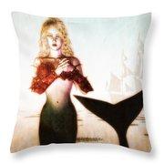 Old Sailors Dream - The Mermaid Throw Pillow