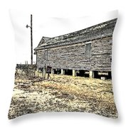 Old Salted Building Throw Pillow