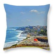 Old San Juan Coastline 2 Throw Pillow