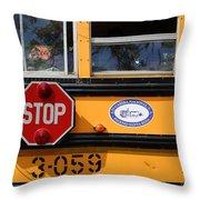 Old School Bus 1 Throw Pillow
