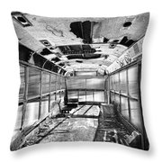 Old School Bus In Motion Bw Hdr Throw Pillow