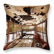 Old School Bus In Motion Hdr Throw Pillow