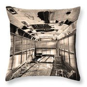Old School Bus In Sepia Motion  Throw Pillow