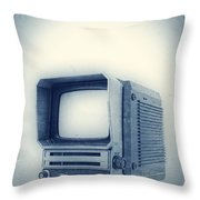 Old School Television Throw Pillow by Edward Fielding