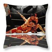 Old School Wrestling Headlock By Dean Ho On Don Muraco With Reflection Throw Pillow