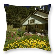 Old Schoolhouse And Garden. Throw Pillow