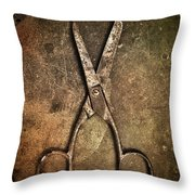 Old Scissors Throw Pillow by Carlos Caetano