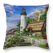 Old Sea Cottage Throw Pillow