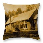 Old Sepia Photo Old Farmhouse H A Throw Pillow