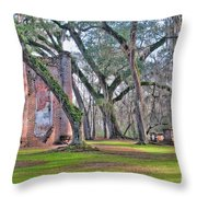 Old Sheldon Church Angled With Tombs Throw Pillow