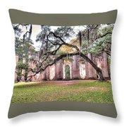 Old Sheldon Church - Bending Oak Throw Pillow