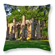 Old Sheldon Church Ruins In South Carolina Throw Pillow by Reid Callaway