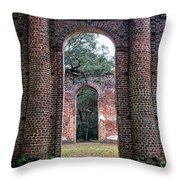 Old Sheldon Ruins Archway Throw Pillow