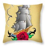 Old Ship Tattoo  Throw Pillow