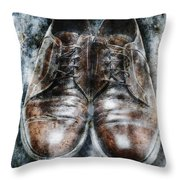 Old Shoes Frozen In Ice Throw Pillow