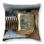 Old Silo Stave Bolt Throw Pillow