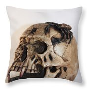 Old Skull With Scorpion On A White Background Throw Pillow